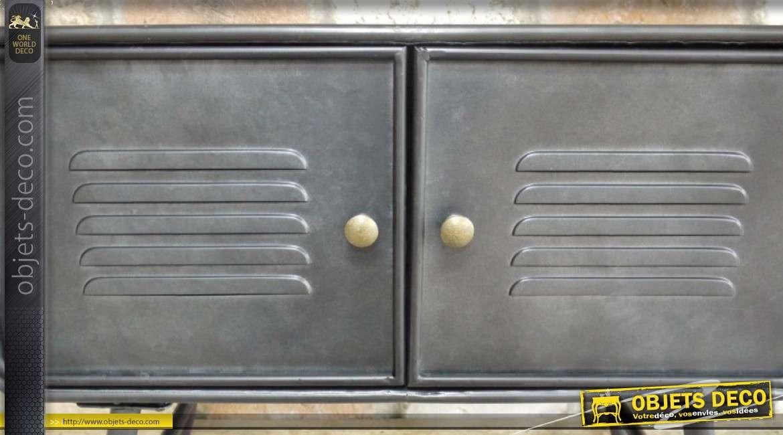 Meuble d'appoint en métal style industriel 2 portes, sur pieds 58cm