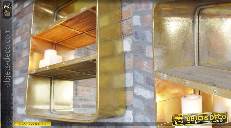 Etagère indus en métal finition ancien doré avec miroir et 2 tablettes en bois 67cm