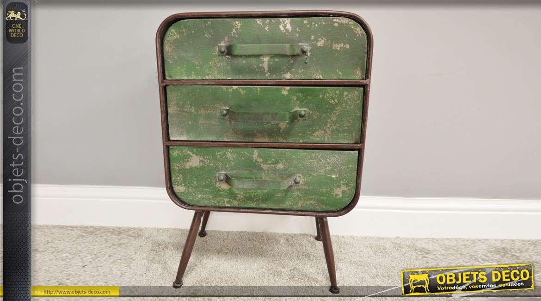 Meuble d'appoint en métal, style vintage oxydé, vert usé et ancien rouge