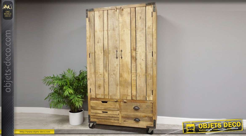 Grand meuble cave en bois, deux portes et quatre tiroirs, style rustico-industriel