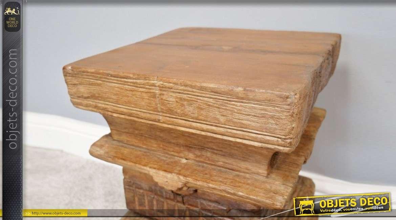 Véritable partie de colonne indienne en bois sculpté, produit authentique 42cm