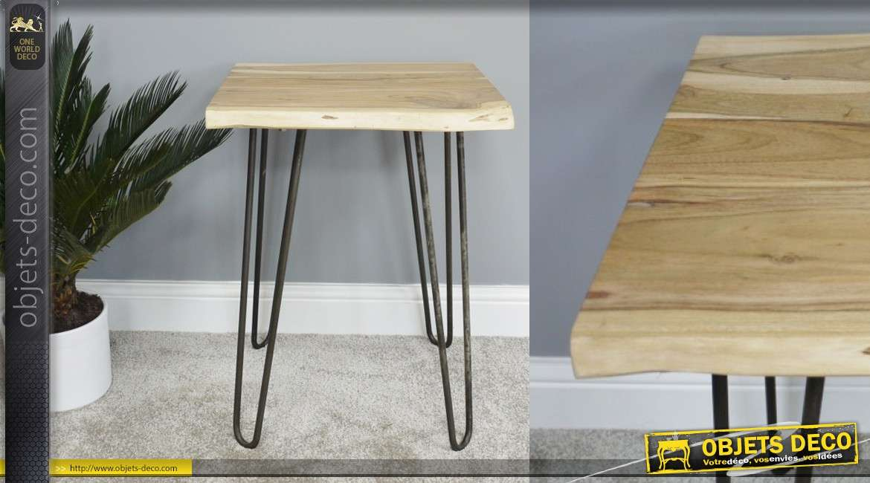 Table d'appoint en bois d'acacia et pieds en métal noir, style nature moderne