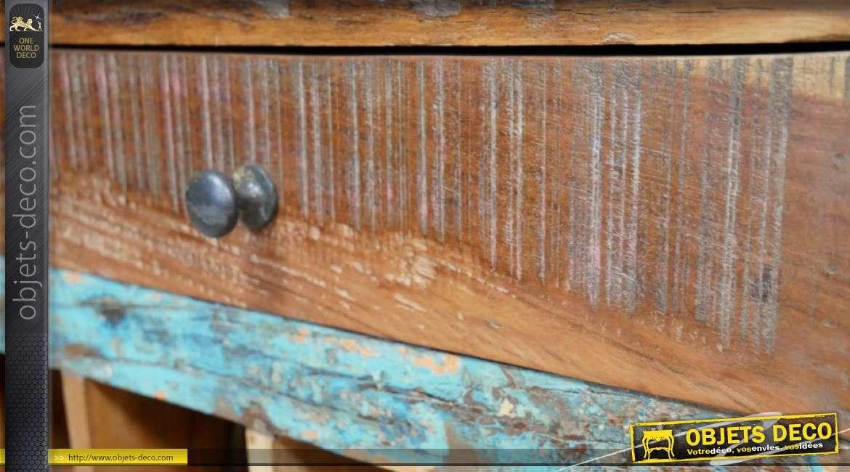 Meuble bar en bois recyclé, 16 emplacements bouteille et tiroir finition vintage