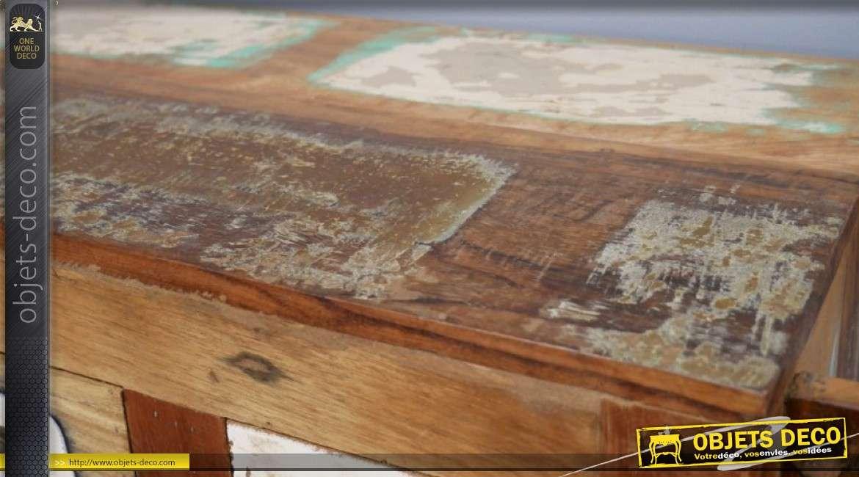 Meuble cave esprit chariot à vin avec roulettes, en bois recyclé 83cm