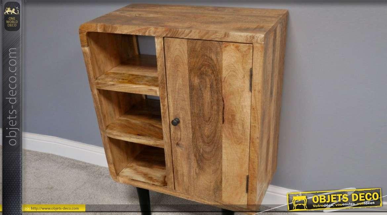 Meuble d'appoint en bois de manguier, 1 porte et 3 espaces de rangements 91cm