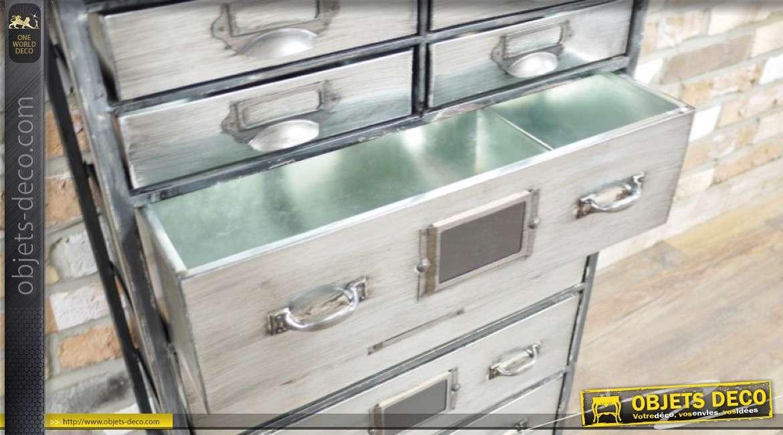 Meuble de métier en métal et plateau en bois, 22 tiroirs esprit ancien atelier