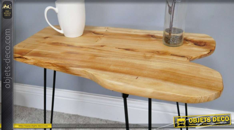 Table d'appoint en bois et métal esprit rustique avec pieds rabattables