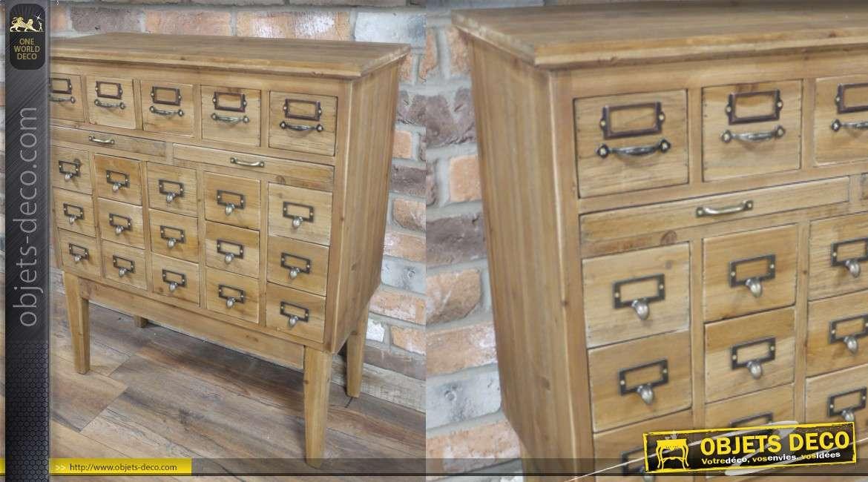 Meuble de métier sur pieds, en bois et poignées en métal, esprit rustique atelier 20 tiroirs
