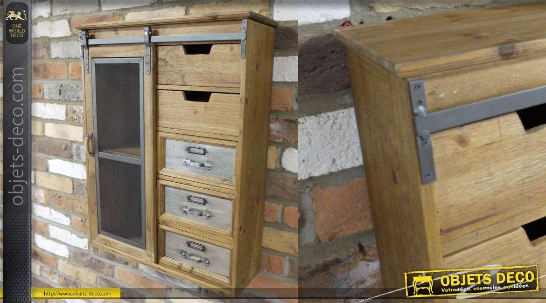 Unité de stockage murale en bois et métal, tiroirs et porte coulissante 69cm