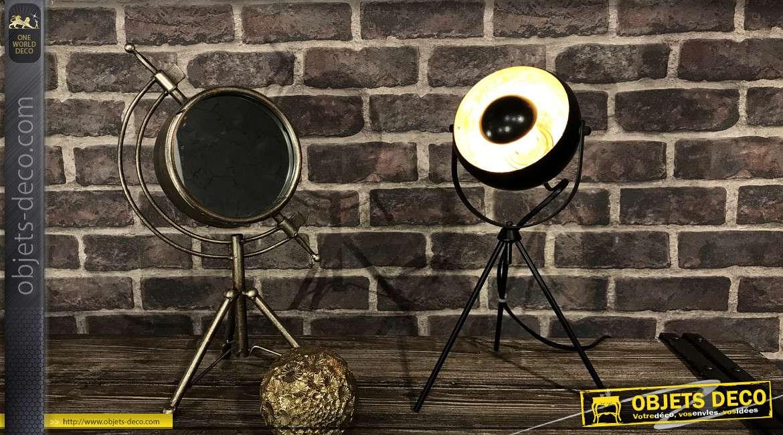 Lampe de chevet en métal finition noir, tripode, modèle Gold 36 cm