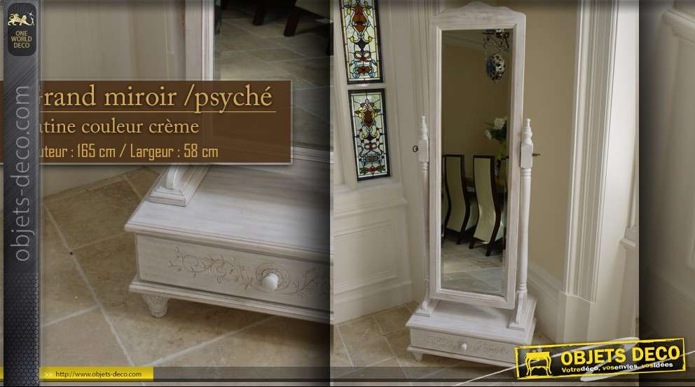 grand miroir sur pied psych patine blanc antique. Black Bedroom Furniture Sets. Home Design Ideas