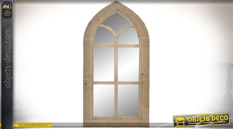 Grand miroir en forme de fenêtre gothique en bois clair vieilli 137 cm