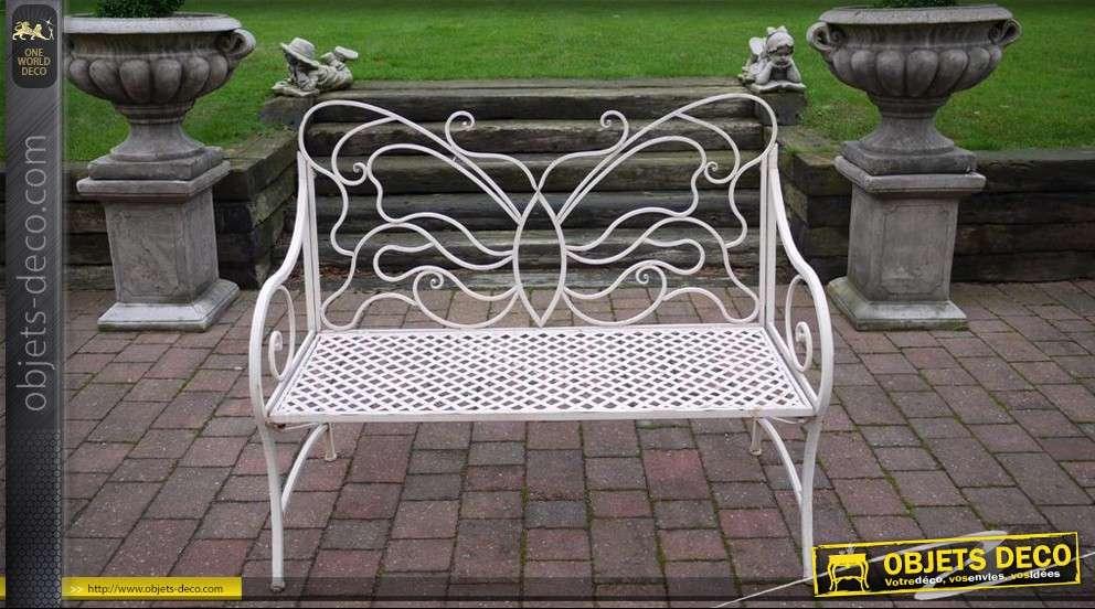 banc en fer forg papillon. Black Bedroom Furniture Sets. Home Design Ideas