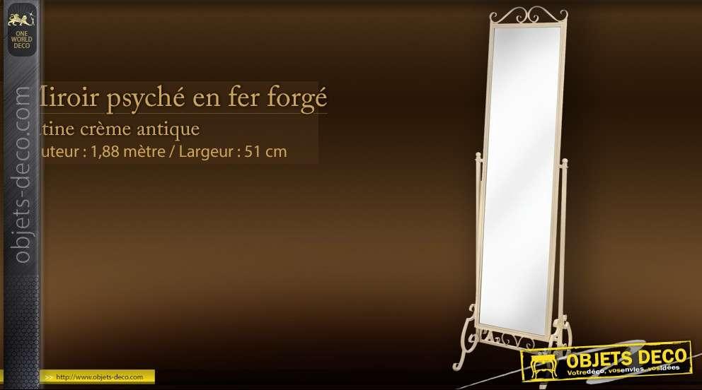 Miroir psych sur pied baroque patine dor e for Miroir psyche