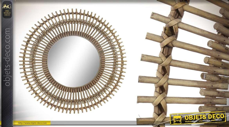 Miroir en bambou naturel, esprit nature chic, forme ronde double encadrement 58cm