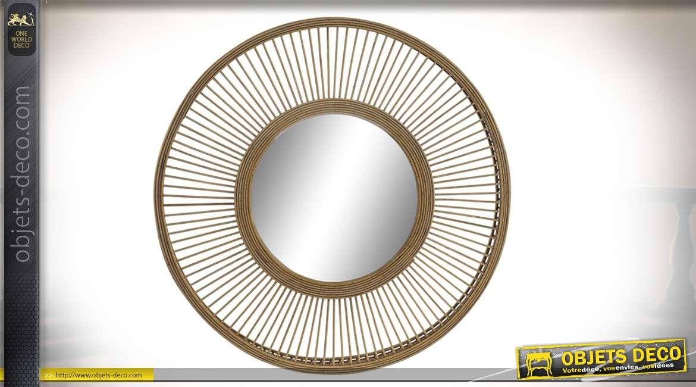Miroir en bambou, forme de soleil, esprit moderne nature, double encadrement 61cm
