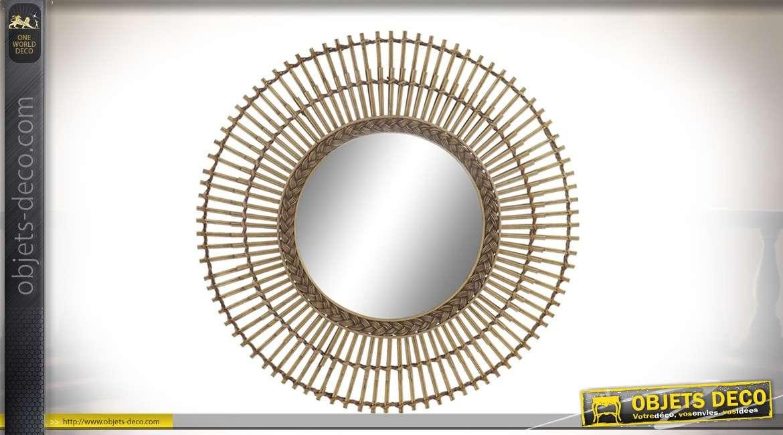 Miroir en rotin, forme ronde avec tressage circulaire intérieur, esprit bois flotté 62cm