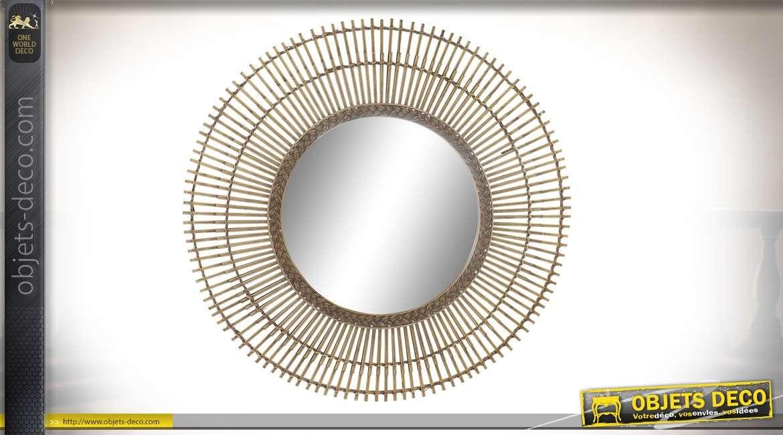 Grand miroir rond en rotin et bambou, double encadrement et tressage intérieur 80cm