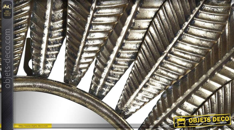 Miroir soleil en métal, esprit plumes d'oiseaux dorées, finition brillante 66cm