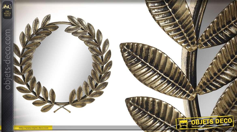 Miroir rond en métal, esprit Rome antique, finition métal doré, branche de laurier 56cm