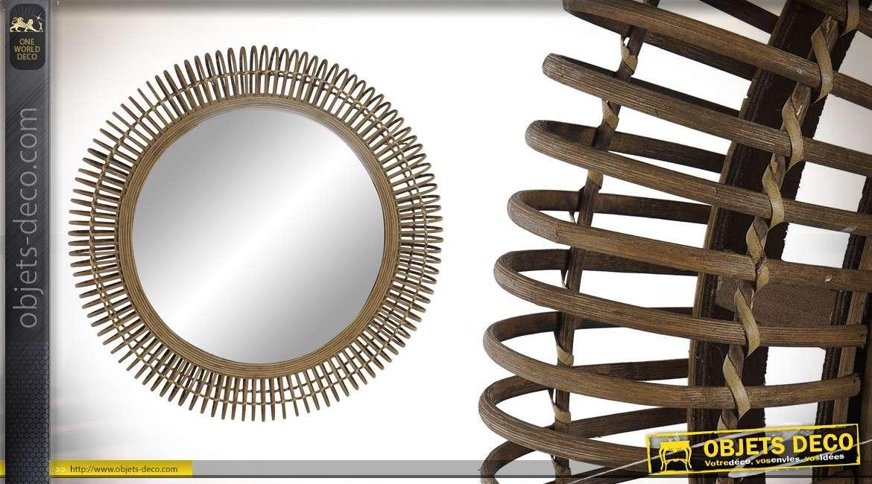Miroir rond en bois, encadrement en anneaux avec tressage intérieur, finition marron naturel 50cm