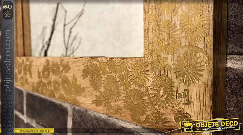 Miroir en bois de manguier, finition wengué et fleurs dorées brillantes 50cm