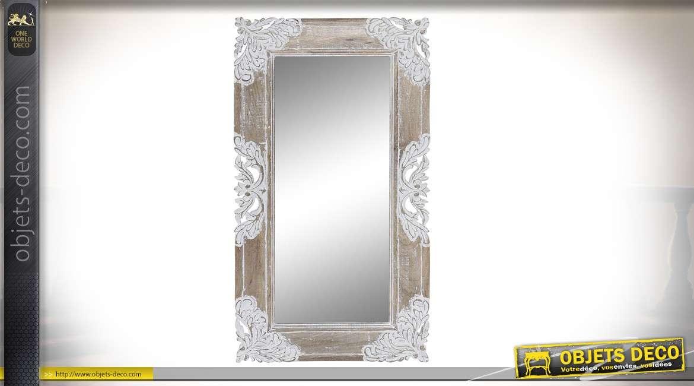 Miroir en bois de manguier finition naturel et blanchi, bois sculpté 90 cm