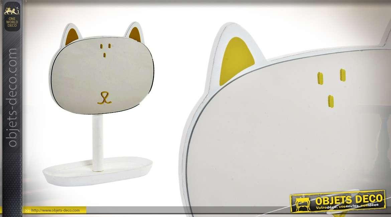 Miroir de table en forme de chat, inclinable, base en métal finition blanche 21cm