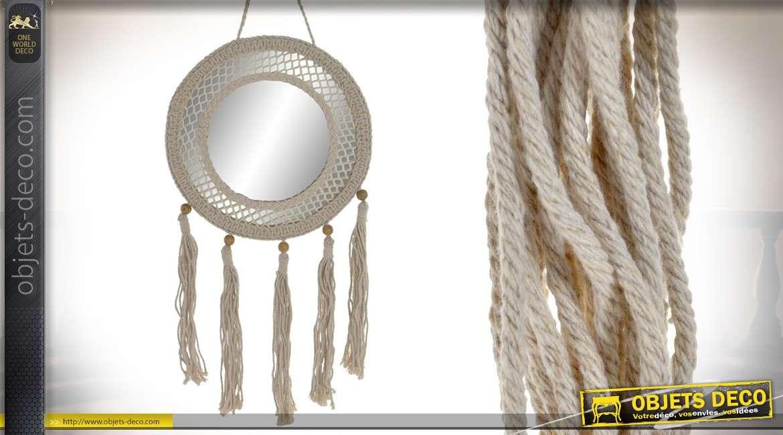 Miroir rond suspendu en macramé, esprit bohème-naturel et perles en bois, 73cm