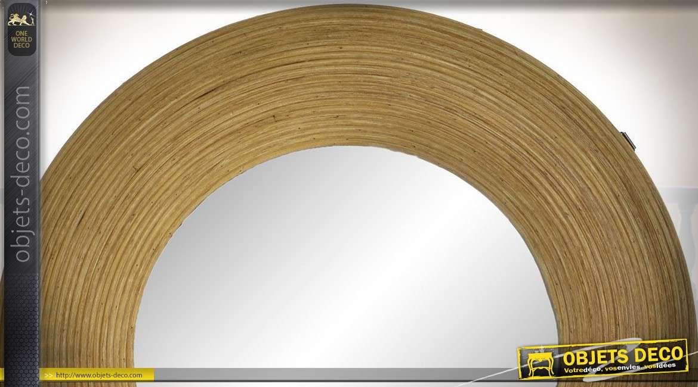 Miroir de forme ronde avec encadrement en rotin, finition naturel, 42cm de diamètre