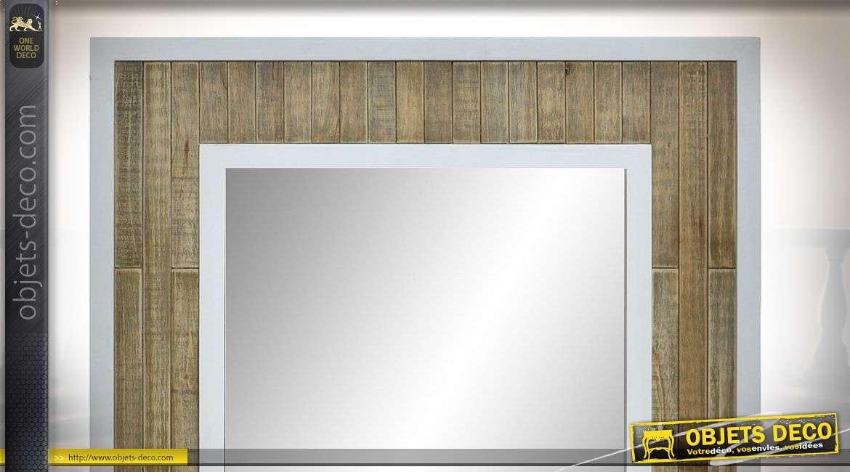 Miroir en bois, de style moderne blanc et bois naturel, double encadrement 80cm