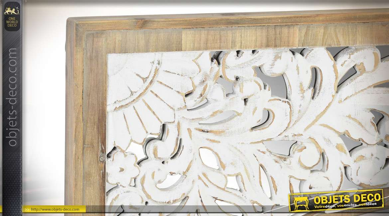 Fresque murale en bois, esprit mandala finition blanchi et naturel, miroir en fond et central 106cm