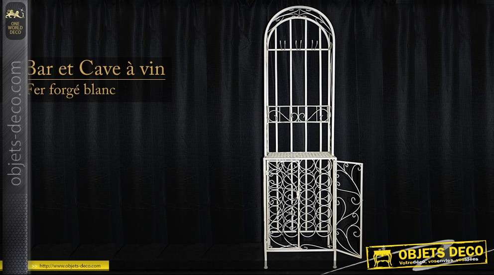 bar cave vin en fer forg. Black Bedroom Furniture Sets. Home Design Ideas