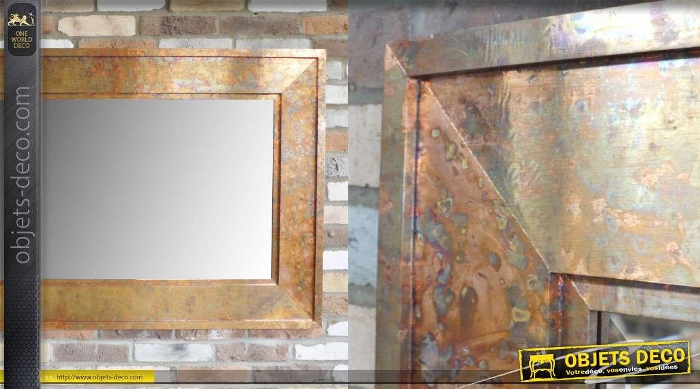 Très grand miroir avec encadrement en métal style zinguerie cuivré, esprit indus 180cm