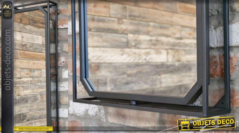 Miroir en métal finition noir mat, rectangulaire avec effet de profondeur 85cm