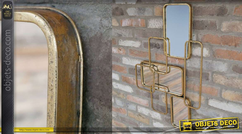 Miroir en métal de style contemporain, entrelacements de rectangles, finition vieux doré