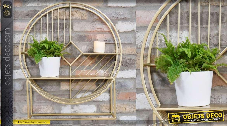 Etagère ronde de style moderne, 3 niveaux sur structure en métal finition doré 70cm