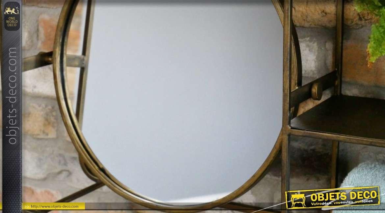 Rangement mural en métal avec miroir rond, esprit indus et patine effet ancien 100cm