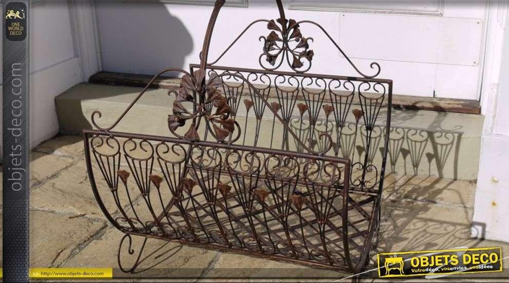 set de 3 paniers b ches en fer forg noir. Black Bedroom Furniture Sets. Home Design Ideas
