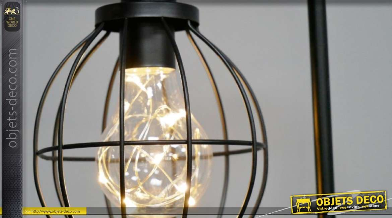 Luminaire d'appoint en métal, de style moderne avec abat jour rond filaments modèle noir