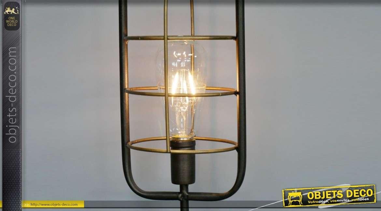 Luminaire d'appoint en métal style lampe de minier finition ancien LED 46cm