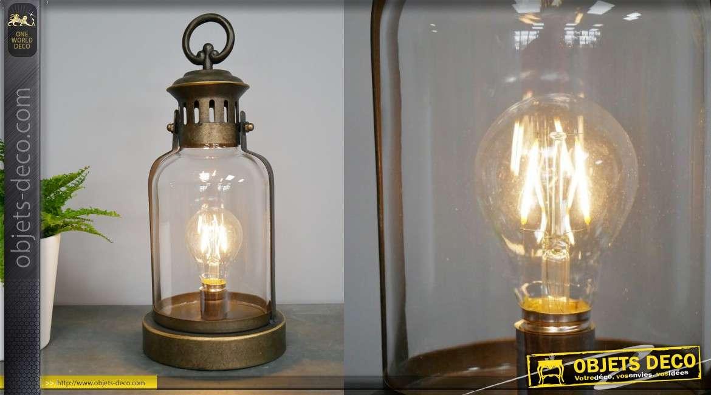 Lampe d'appoint LED en métal et verre, style lampe de minier ancienne, 34cm