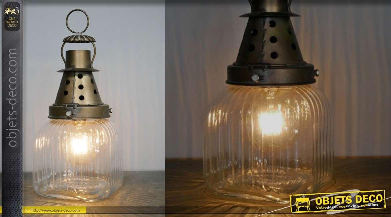 Luminaire d'appoint rétro style ancienne mine, en métal et verre finition vieilli, 3