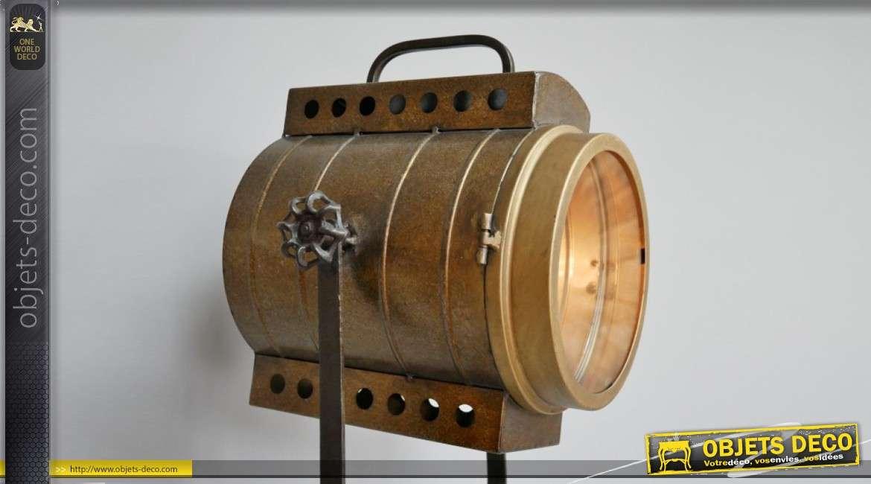 Lampe tripode en métal style ancien projecteur, lumière dorée esprit industriel 140cm