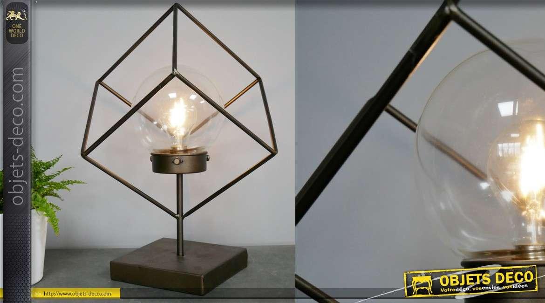 Lampe d'appoint pour bureau en métal, stye moderne cubique finition ancien