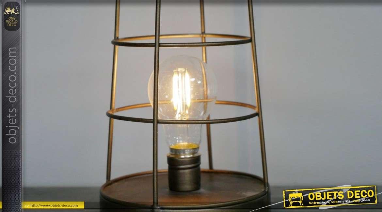 Lampe auxilaire en métal style lanterne avec anneau, finition vieux doré, esprit cage 41cm