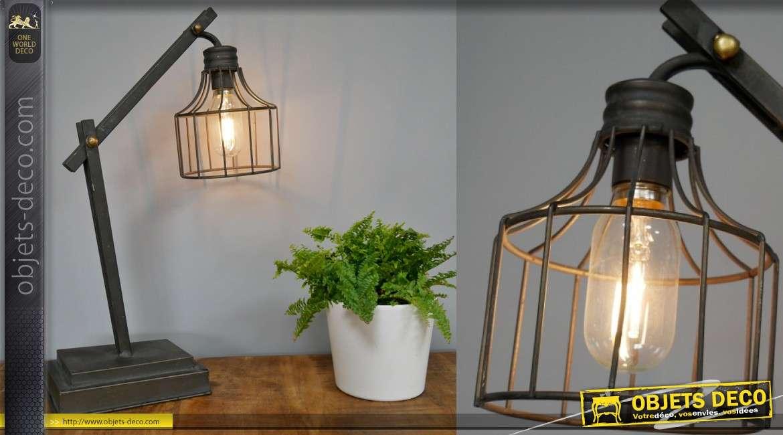 Lampe de bureau en métal style rétro, boulons dorés et cage en verre, 50cm