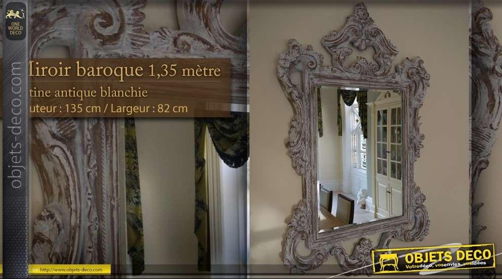 Grand miroir dor de style ancien et vieilli 125 cm for Miroir mural vertical