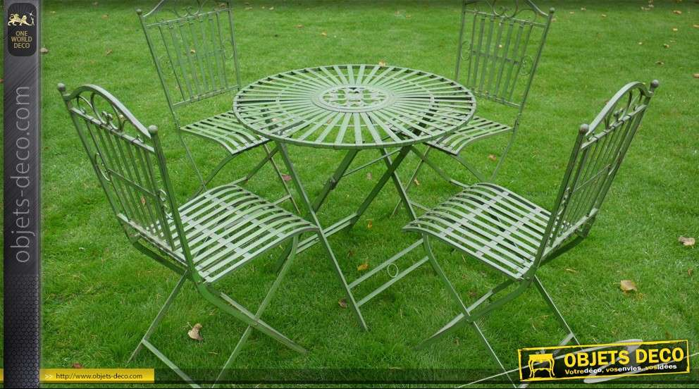 Salon de jardin r tro blanc cr me antique fer forg 4 for Salon de jardin en fer
