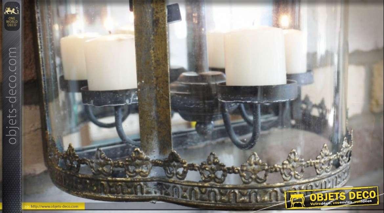 Applique murale porte-bougies en métal façon ancienne lanterne